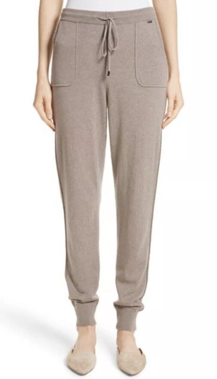 NEW St. John 100% Cashmere Jersey Knit Crop Pants Joggers SZ XL  Grey Brown
