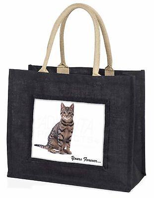 gefleckte Katze  dir für immer  große schwarze Einkaufstasche