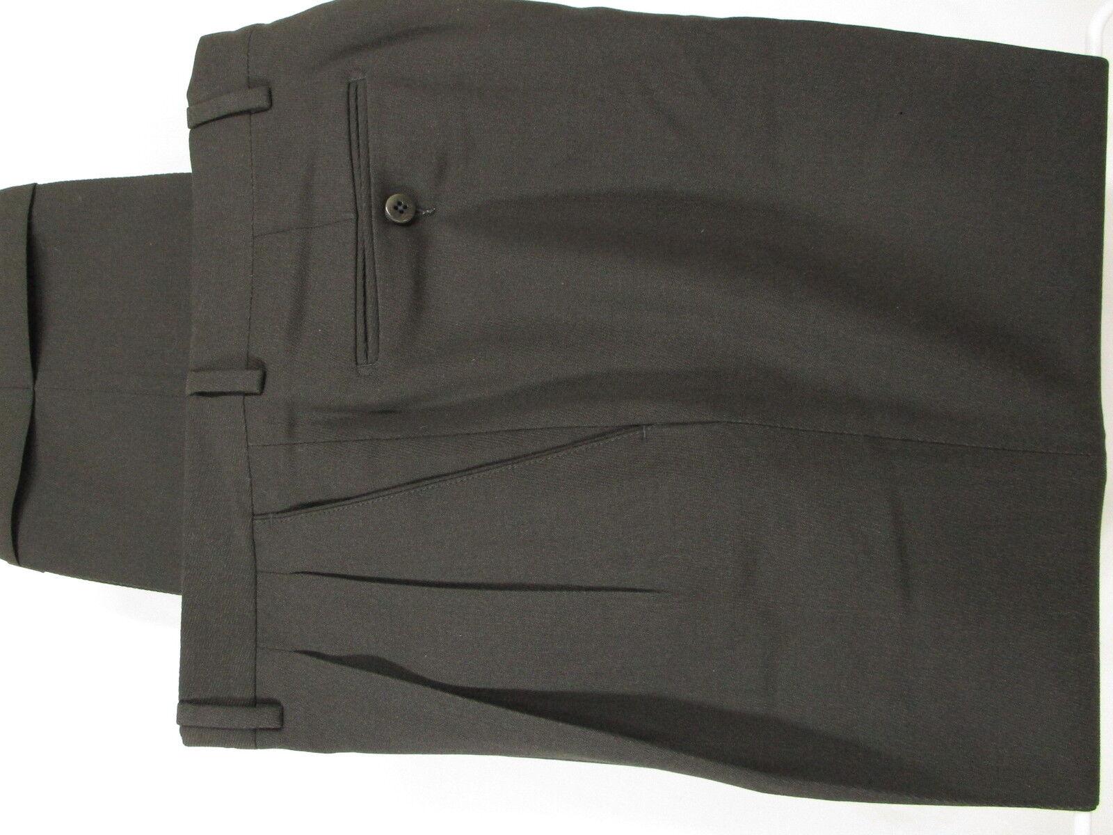 Ermenegildo Zegna Mens Charcoal Pleated Wool Dress Pants 33x29.5  Made