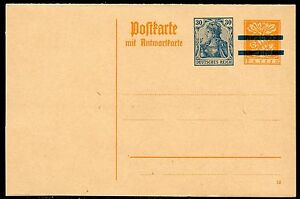 BAVARIA-ORANGE-MINT-REPLY-POSTCARD-BAR-RE-IMPRINTED-GERMANY-GERMANIA-30-pfg