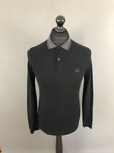 Fred-Perry-Langarm-Poloshirt-Small-Slim-schwarz-super-Zustand