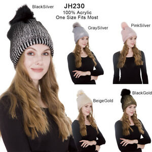 e5a247d120a Janice Apparel Women s Sherpa Lined Winter Cable Knit Beanie Hat Fur ...