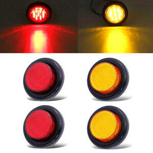 2-Red-2-Amber-Round-2-034-Side-Marker-Lights-Clearance-LED-Truck-Trailer-Lamp-12V
