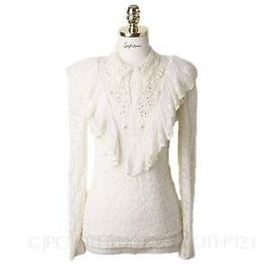 lace-Long-Sleeve-Womens-Going-Out-shirt-Victorian-blouse-High-Neck-Top-Size
