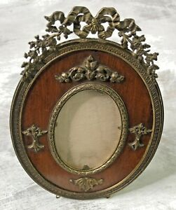 Vtg-French-Bronze-on-Mahogany-Oval-Frame