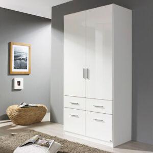 Kleiderschrank weiß hochglanz 2 türig  Kleiderschrank Celle 2-türig 4 Schubkästen Front weiß Hochglanz | eBay