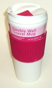 Breast-Cancer-Awareness-16-oz-Double-Wall-Travel-Mug-New-With-Tag