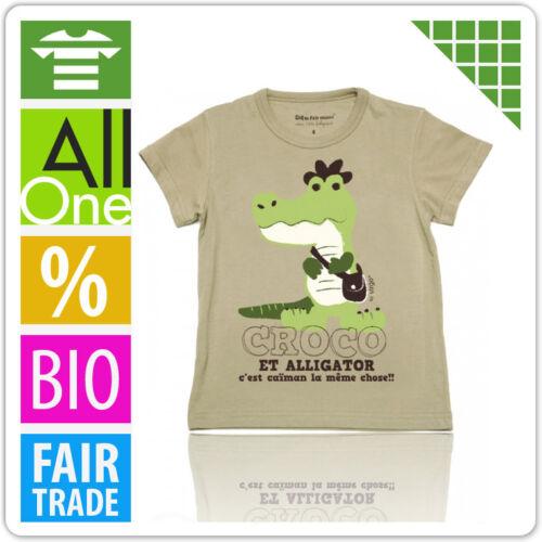 "Coq en Pate T-Shirt /""Krokodil/"" olivgrün Unisex Bio-Baumwolle Fair"
