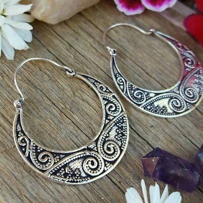 Adaptable 925 Silver Overlay Mandala Tribal Brass Hoops Earrings Valentine Day With The Best Service Jewelry & Watches Fashion Jewelry