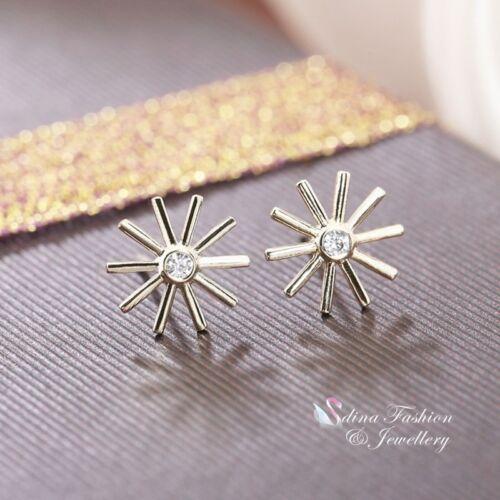 18K Yellow Gold Plated Simulated Diamond Stylish Slim Sunflower Stud Earrings