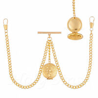 Brand New Gold Colour Double Albert Pocket Watch Chain With Locket 051