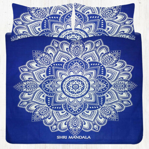 Blue and White Lotus Flower Bedding Queen Size Tapestry Bedsheet Pillow Covers
