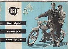 NSU QUICKLY MODEL N , S , S2 & F MOPED ORIGINAL 1964 OWNERS INSTRUCTION MANUAL