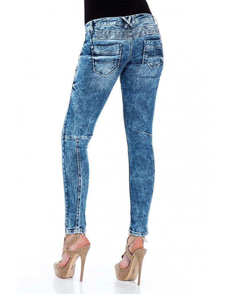 Cipo & Baxx Jeans donna donna donna stretch pantaloni cuciture blu 322 w25 26 27 28 29 30 31 32 0b6ed9