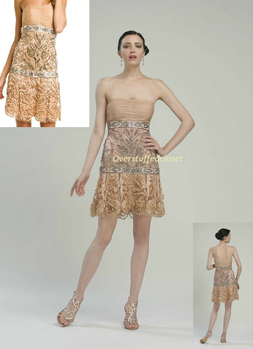 NWT  468 Sue Wong Wong Wong Dusty Peach Embellished pinktte Strapless Tulle Dress 6 677781