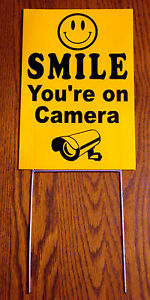 SMILE-YOU-039-RE-ON-CAMERA-Coroplast-YARD-SIGN-8x12-w-Stake-NEW-Security