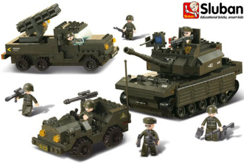 Sluban Army Land Forces Set Tank Jeep Aircraft Gun Military Bulding Bricks B6800