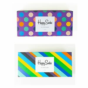 Mens Gift Boxed Socks Happy Socks 4 Pair Pack DAD FATHERS DAY Size 7½ – 11½ UK