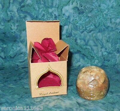 Royal Amber Solid Perfume Temple Essence Auric Blend NEW Sealed Soapstone Jar