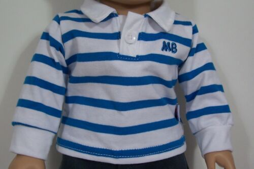 "BLUE Polo Shirt Cargo Pants Clothes For 18/"" American Girl Boy Logan Doll Debs"