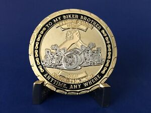 MOTORCYCLE-CHALLENGE-COIN-034-BIKER-BROTHER-BROTHERS-FOREVER-034-BRAND-NEW-DESIGN