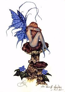 Postcard-Amy-Brown-Gothic-Fairy-IT-039-S-BEEN-A-LONG-DAY-2001-Art-Print-Collectable