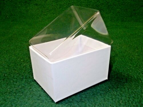 """White Gift Box 3/""""x2/"""" Box w//Clear Acetate Tuck Lid ~ Lot of 12 Jewelry Candies"""