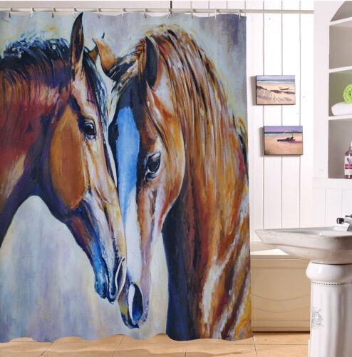 "72X79/"" Watercolor Horse Love Waterproof Fabric Shower Curtain Set Bath Decor"