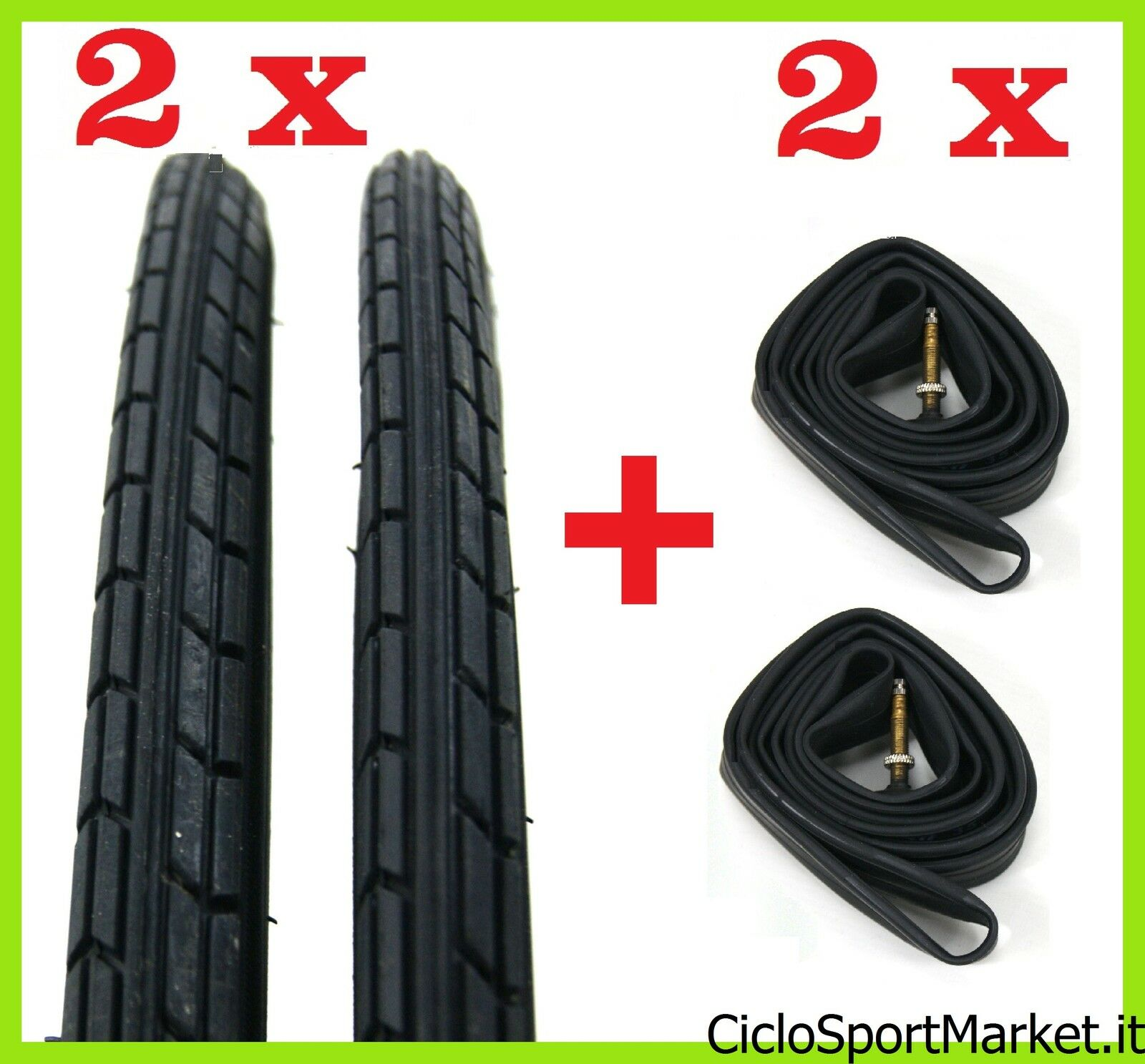 2 x Tyres + 2 x Inner tubes for bicycle bike   Size 26  x 1 3 8 black