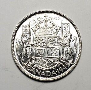 Canada-1945-Silver-50-Cents-Half-Dollar-Coin
