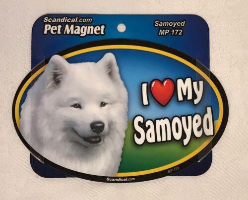 """Scandical I Love My SAYMOYED Dog Laminated Car Pet Magnet 4/"""" x 6/"""" NEW MP172"""