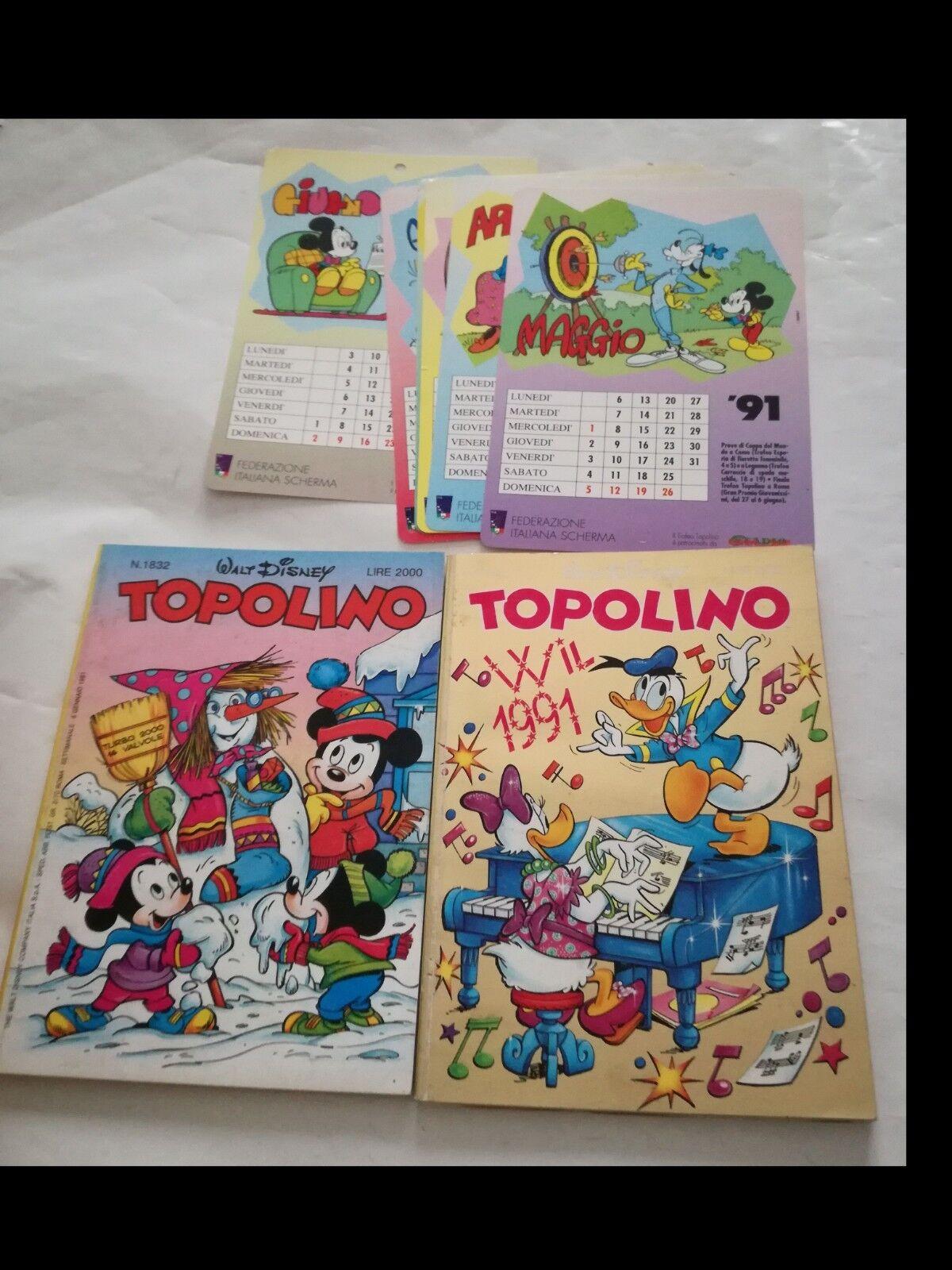 TOPOLINO 1931 e 1932 CON  ALLEGATO il calendario completo del 1991 a schede