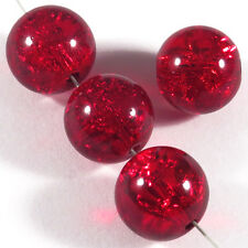 Lot de 20 Perles Craquelées en Verre 12mm Rouge