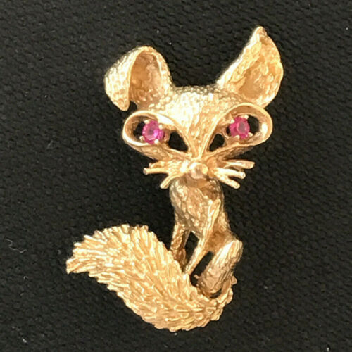 14kt Yellow Gold Brooch Pin Fox Foxy Lady ! Exquis