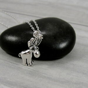 925 sterling silver moose necklace elk deer charm pendant jewelry image is loading 925 sterling silver moose necklace elk deer charm aloadofball Images