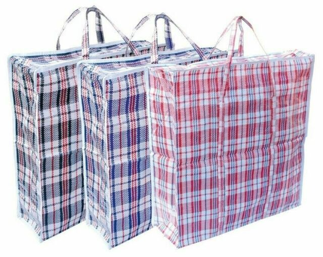 NEW JUMBO LAUNDRY SHOPPING ZIPPED BAG REUSABLE STORAGE LUGGAGE SACK ZIP BAGS