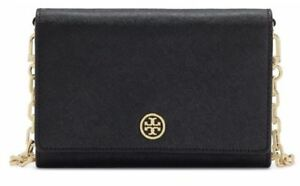 6e90a383c42 Tory Burch Robinson Chain Wallet Black 45257 with Free Gift   Track ...