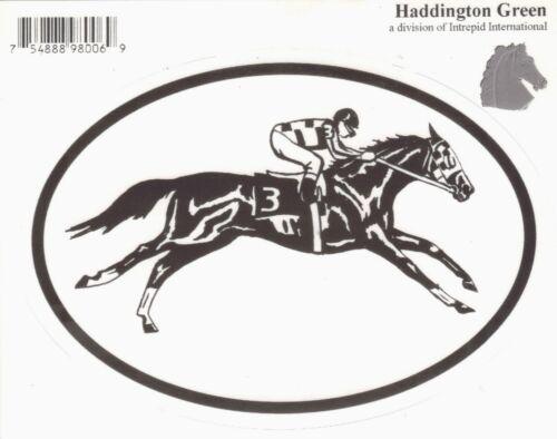 TB Race Horse Equine Discipline Oval Vinyl Decal Black /& White Sticker