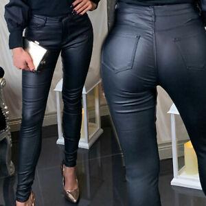 Damenhose-schwarz-Skinny-Jeggins-Lederlook-Huefthose-Roehrenhose-CW-34-40-Z15