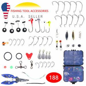 US 188PCS Fishing Accessories Kit with Tackle Box Tools Pliers Jig Hooks Swivels