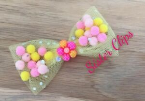 """Girls Handmade 3.5/"""" bow hair clip pink /& lilac mix pom pom tulle"""