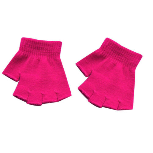 Kids Toddler Soft Knitting Half-finger Gloves Pure Color Comfortable Mittens New