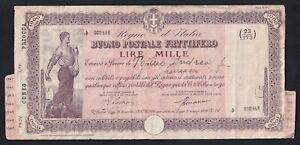Italy 1000 Lire Good Postal Interest-Bearing 1941 Fascist Period A-08