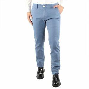 Pantaloni-Uomo-Invernali-Chino-Slim-Fit-Pantalone-Tasca-America-Elegante-Azzurro