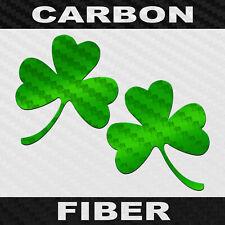 Carbon Fiber 3 Leaf Clover Sticker 2 Pack Three Leaf Shamrock Decal Choose Color