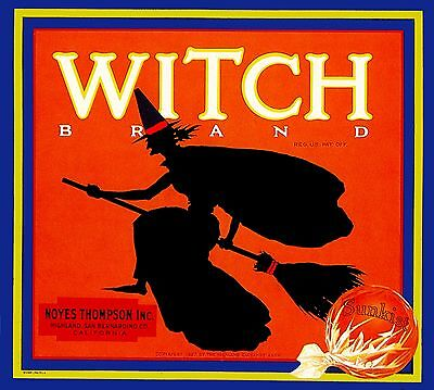 Highland Witch Halloween Orange Citrus Fruit Crate Label Vintage Art Print