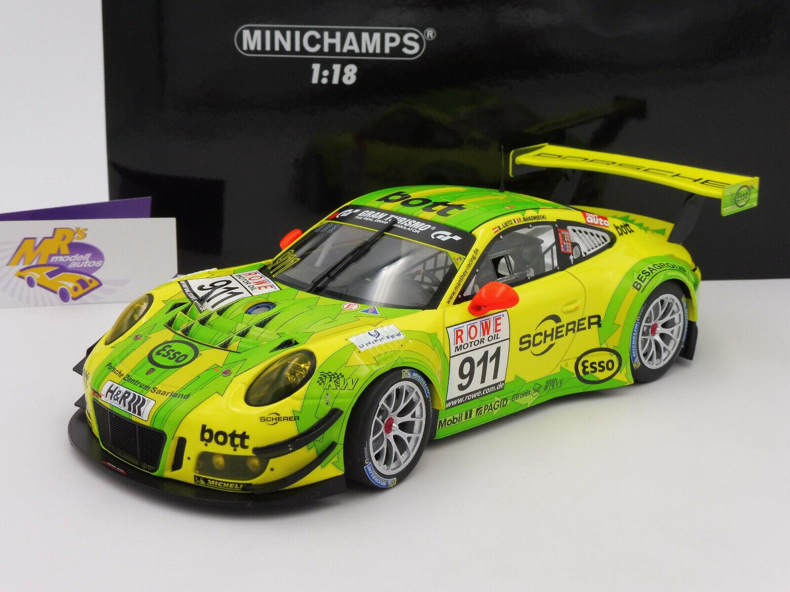 Minichamps 155176991 PORSCHE 911 GT3 R Manthey Racing 4 Std. VLN 2017 1 18