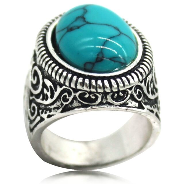 Size 7 8 9 10 11 12 13 14 15 Retro Vintage Silver Blue Turquoise Ring Dad Gift