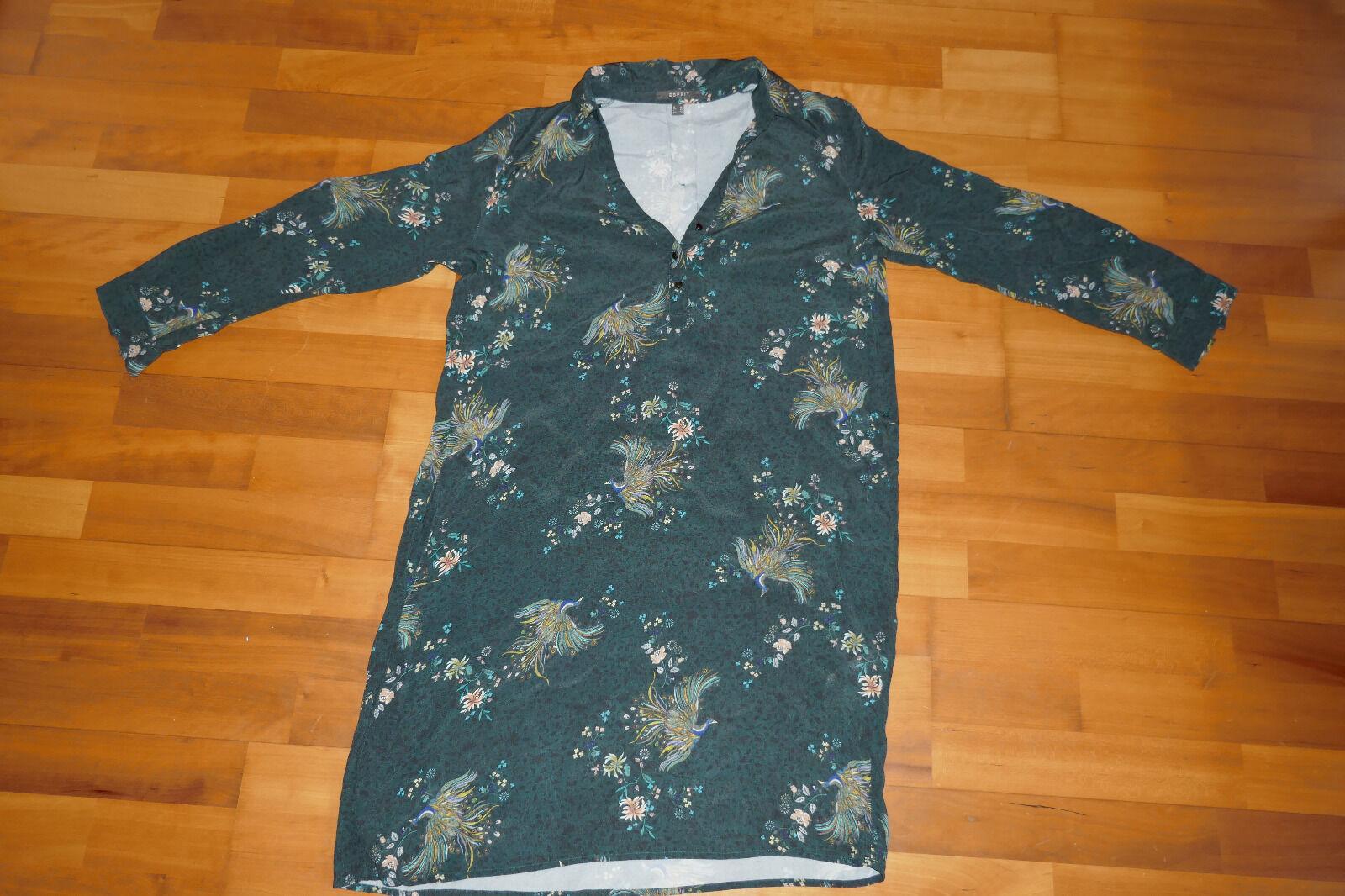 Kleid Blausenkleid Hemdkleid Damen Esprit Gr. 36 Pfau Reiher Blaumen Asia grün neu
