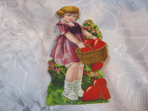 Vintage Valentine's Day Valentine Greetings Card Basket of Hearts Germany Easel